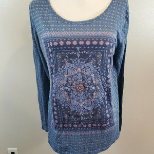 Lucky Brand Size XL Top Blue Floral Long Sleeve